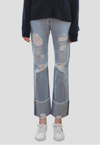 寬鬆破esprit tsim sha tsui洞牛仔褲, 服飾, 牛仔褲