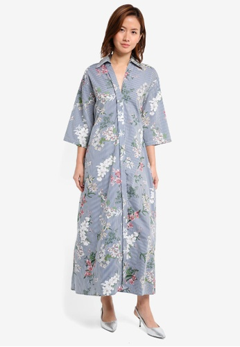 Mango blue and navy Floral Shirt Dress MA193AA0T0XGMY_1