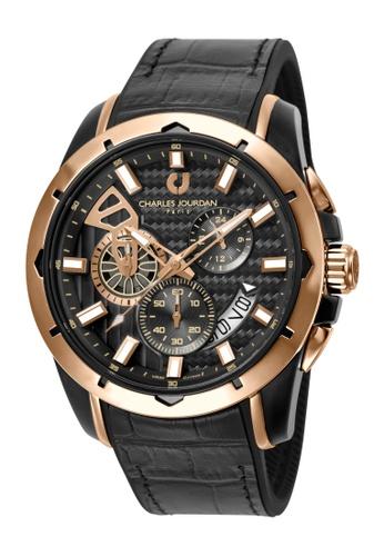 Charles Jourdan black Charles Jourdan Men CJ1045-1032C Black Silicone Leather Watch 78A25ACB8A4EDFGS_1