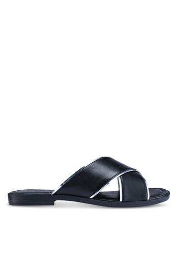 Anacapri black Cross Flat Sandals EF0BBSH898297BGS_1