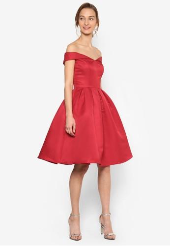 Chi Chi Jaesprit衣服目錄de 修身寬鬆起褶裙擺露肩洋裝, 服飾, 服飾