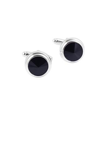 Glamorousky black Elegant and Simple Geometric Round Black Cubic Zirconia Cufflinks 880B2AC27CB48BGS_1