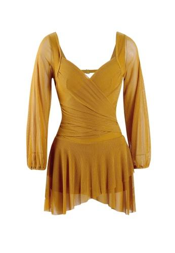 Its Me yellow Sexy Gauze Big Backless One-Piece Swimsuit 0EFADUS89C41B7GS_1
