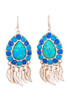 Semi Precious Turquoise Embellished Gold Drop Earrings