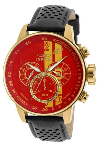 INVICTA gold Invicta S1 Rally Men 48mm Case Black, Brown, Red Leather Strap Red, Yellow Dial Quartz Watch 19904 IN968AC0F5EPSG_1
