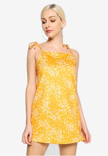 MISSGUIDED yellow Floral Tie Strap Cami Dress 3BFE7AA4BEC954GS_1