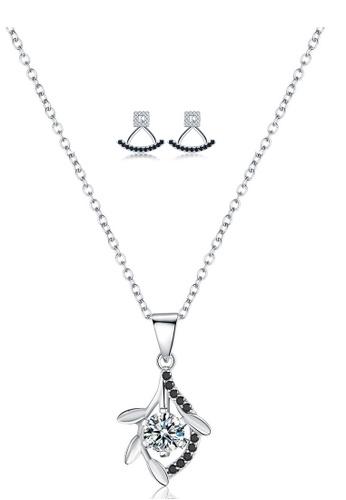 A-Excellence white Premium Elegant White Sliver Necklace Earring Set E9C58AC5D2C9CAGS_1