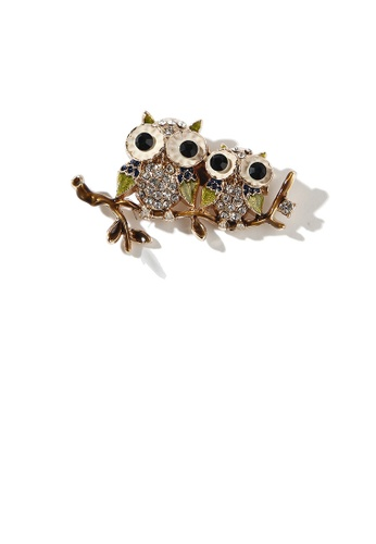 Glamorousky white Simple and Cute Plated Gold Owl Brooch with Cubic Zirconia 3282AACD8273F1GS_1