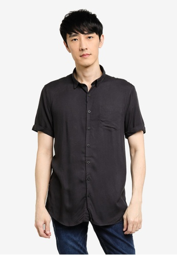 KOTON black Roll Hem Short Sleeve Shirt CAC5FAAA321BEDGS_1