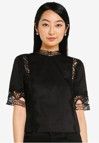 ZALORA BASICS black Lace Detail Cotton Top 9349DAAE7C272EGS_1