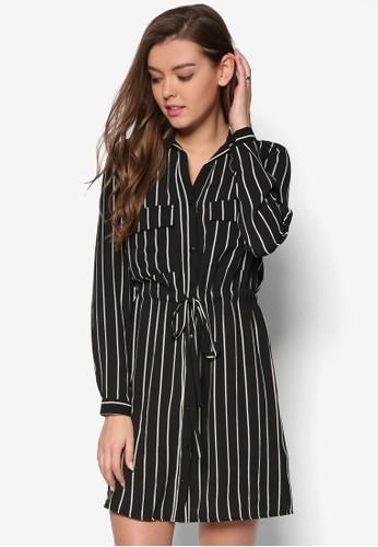 條紋襯zalora 台灣衫連身裙, 服飾, 服飾