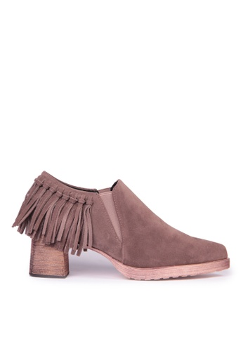 Sunnydaysweety brown Big Sale Item - The Long Stylish Matte Leather Fringed Ankleboots C12058 SU219SH0FDL0SG_1