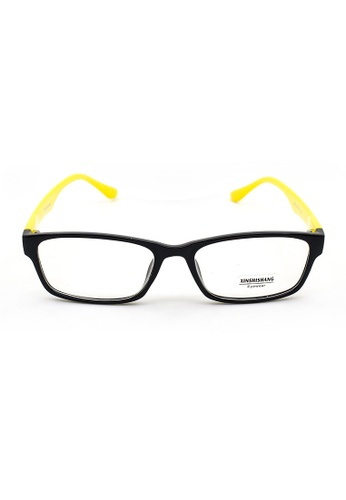 Elitrend black and yellow Plastic Frame Glasses with Yellow Arm CDC5AGLB0F2088GS_1