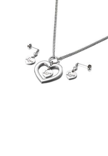Glamorousky silver Fashion and Simple Love Heart-shaped 316L Stainless Steel Necklace and Earrings Set 6027DAC771882CGS_1
