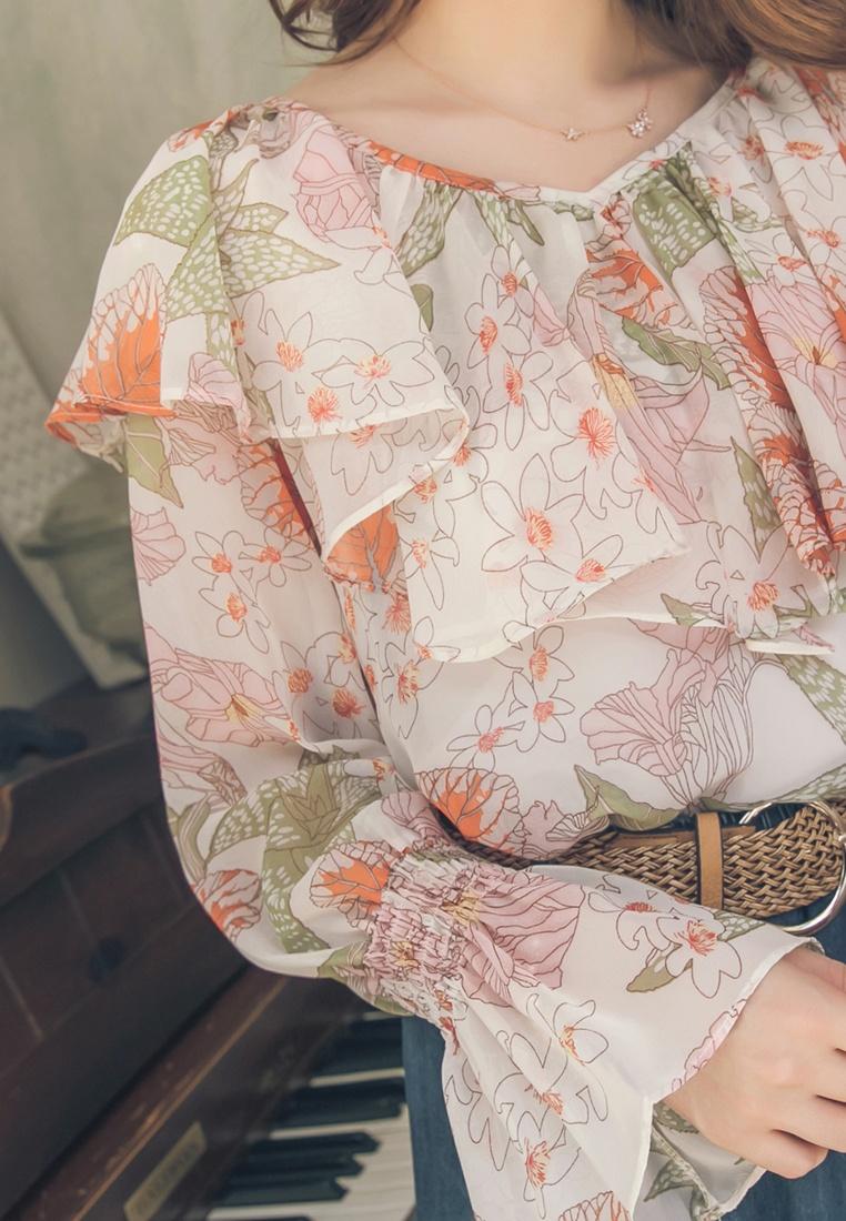 Long Sleeve Floral Ruffle White Trim Yoco Top Sfa86wnq