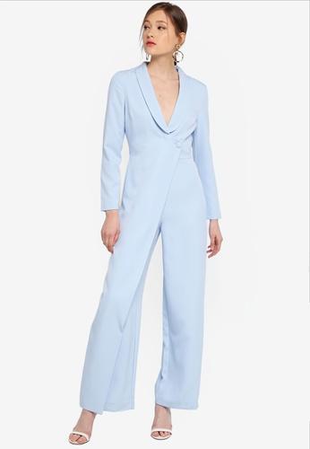 Lavish Alice blue Tailored Wrap Over Wide Leg Jumpsuit 5F84CAA31FD68BGS_1
