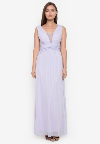 CIGNAL purple V-Neck Gown with Beading on V-drape Back A3161AAC566F4AGS_1