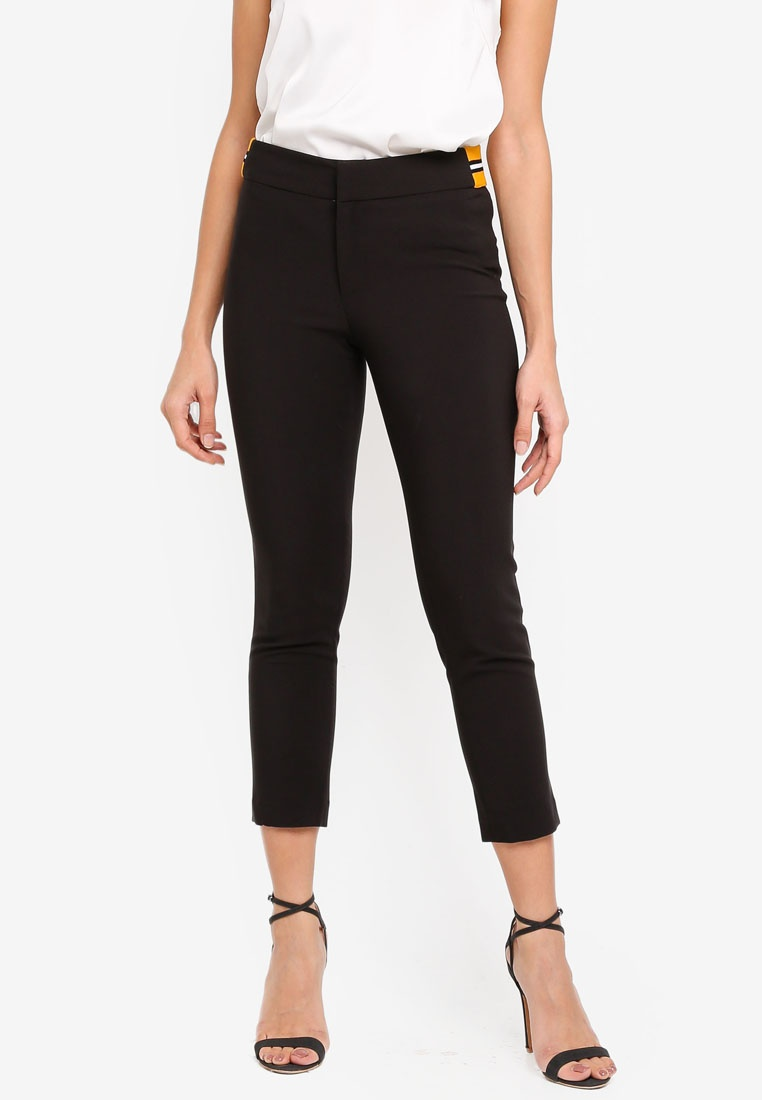 Black bYSI Two Side Stripes Cigarette Pants 8wqwFr4Xn