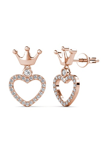 Her Jewellery gold Princess Crown Earrings (Rose Gold) -  Embellished with Crystals from Swarovski® 9CD85ACC96F470GS_1