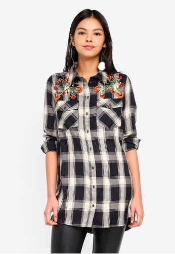 ONLY black onlROCK IT LOOSE L/S CHECK EMB SHIRT DNM 736C9AA2392F18GS_1