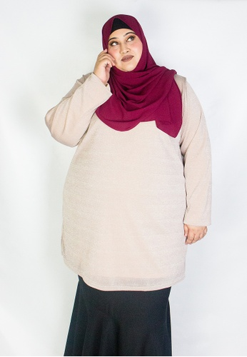 Zaryluq pink and gold Curve Glitter Knitted Top in Rose Gold 9ABD3AAA07DCC0GS_1