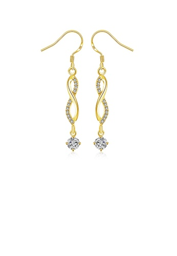 Glamorousky white Simple Plated Gold Figure 8 Geometric Earrings with Austrian Element Crystal D67B3ACEC431C0GS_1