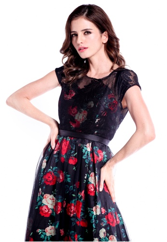 be54ee073 Buy DreamTales Wardrobe Mesh Lace Layering Floral Evening Dress Online    ZALORA Malaysia