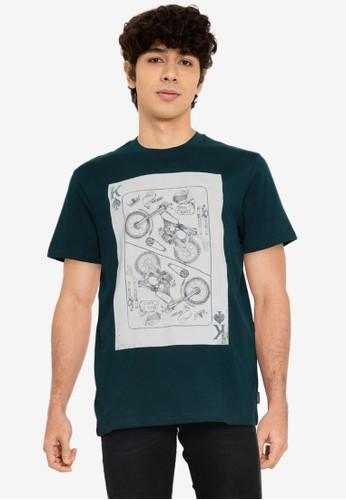 Springfield blue Print T-Shirt 56C19AADE1AA4DGS_1