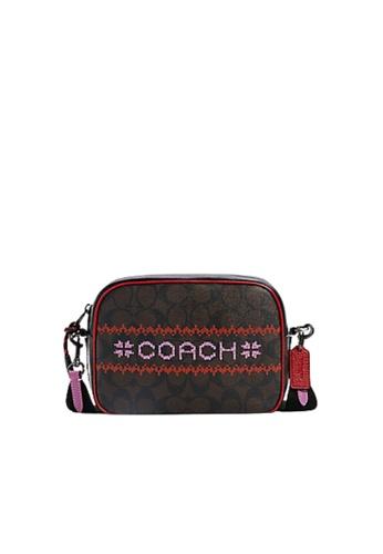 COACH brown Coach Signature Dempsey C1541 Camera Crossbody Bag In Brown Red Multi 0FF12AC50C3840GS_1