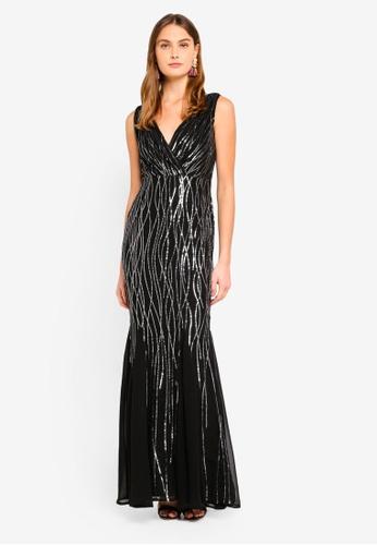 Goddiva black Sequined Mermaid Hem Maxi Dress 2204DAA1D4A460GS_1