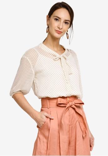 Hopeshow beige Capri Sleeve Polka Dot Button Blouse With Collar Ribbon 26704AA1408698GS_1
