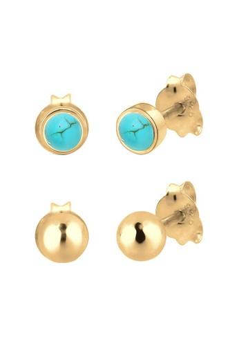 Elli Germany gold Perhiasan Wanita Perak Asli - Silver Anting Set Stud Ball Howlite Lapis Emas 62F6AAC72B2656GS_1