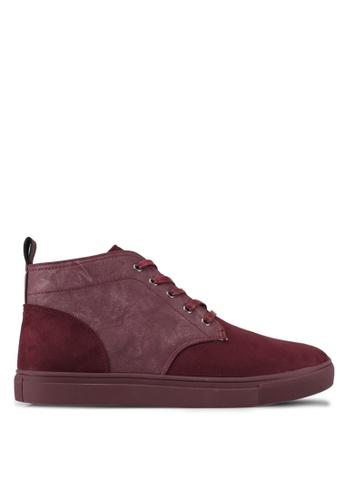 JAXON red Tonal Mixed Materials Chukka Boots E2BEESH53C0CAFGS_1