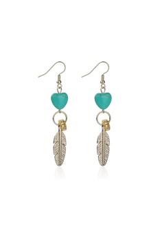 Dangling Howlite Heart Earrings