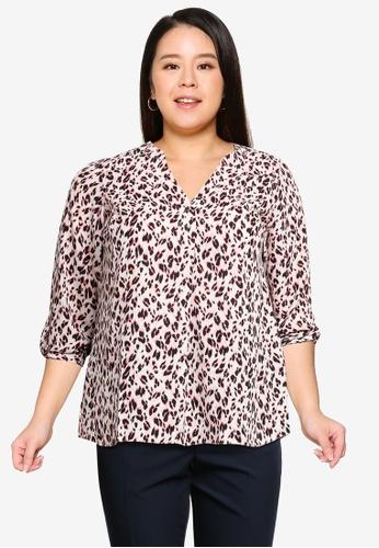 Dorothy Perkins pink Plus Size Pink Leopard Print Roll Sleeve Shirt D67D2AAE781640GS_1
