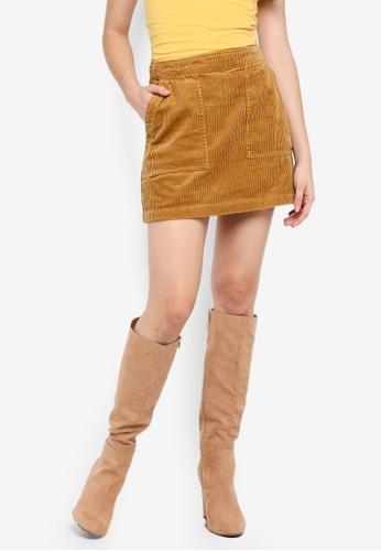 Factorie yellow Corduroy Skirt 8EE14AA5CD007FGS_1