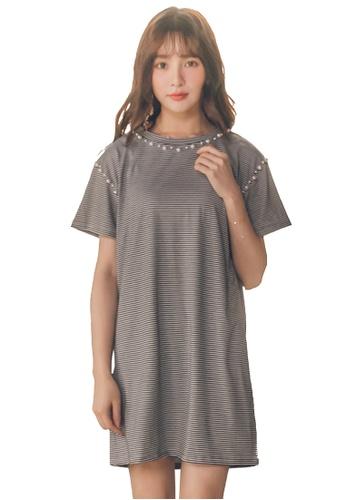 Yoco black Pearl Short-Sleeved Dress 8CE7BAAFE07F1AGS_1