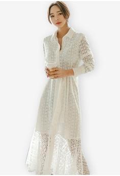 1e950d6c Sunnydaysweety white New V-neck Tie Lace One Piece Dress 57D86AA5EF0E9DGS_1