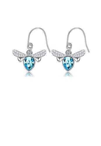 Glamorousky blue Fashion Elegant Little Bee Earrings with Blue Austrian Element Crystal B8720AC75525D3GS_1