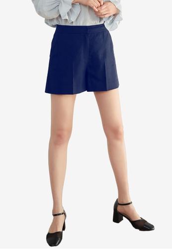 NAIN navy Linen Shorts 9F084AA78E7E08GS_1