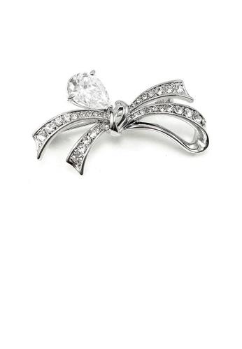 Glamorousky silver Elegant Ribbon Brooch with Silver Austrian Element Crystal 3AF84AC798BBE7GS_1