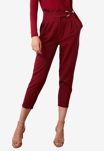 Trendyol red Buckle Detail Paperbag Trousers 449F6AAAFFBC79GS_1