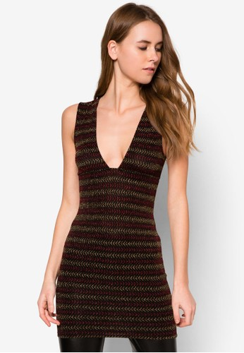 金屬zalora 衣服尺寸感條紋低胸長版連身裙, 服飾, 洋裝