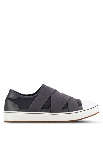 UniqTee grey Slip-On Sneakers With Elastic Crossover UN097SH15IPSMY_1