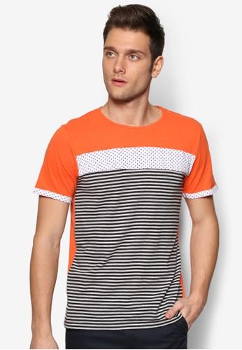 撞色條紋拼接esprit 品牌口袋TEE, 服飾, 條紋T恤