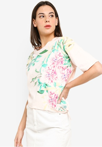 UniqTee pink Floral Print Side Knot Crop Top BBF9BAADCF5346GS_1