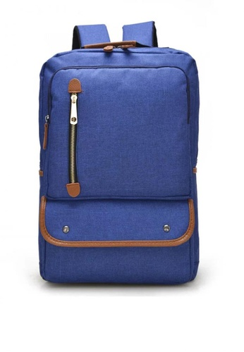 Lucky JX blue City Sky Canvas Two Front Pocket School Backpack 34755AC2198D18GS_1