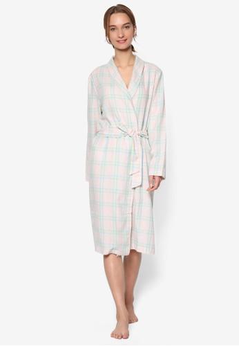 柔和格紋長袍,zalora 台灣 服飾, 服飾