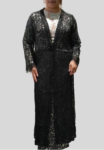 Loveaisyah black Plus Size Lace Abaya Modern Baju Kurung 91264AA1E5B2ADGS_1