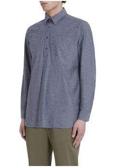 4c990837 50% OFF Kent and Curwen Cotton Melange Frayed Half Button-Up Shirt HK$  1,500.00 NOW HK$ 750.00 Sizes S M L XL XXL